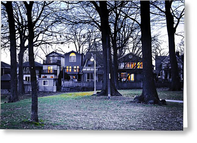 Kew Park At Dusk Greeting Card