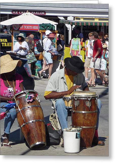 Greeting Card featuring the photograph Key West Street Musicians by Helen Haw