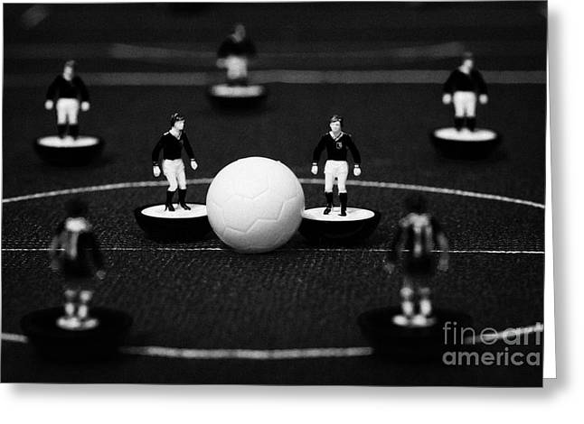 Kick Off Or Restart Football Soccer Scene Reinacted With Subbuteo Table Top Football Players Greeting Card by Joe Fox