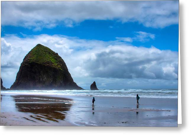 Kids At Play On Cannon Beach Greeting Card