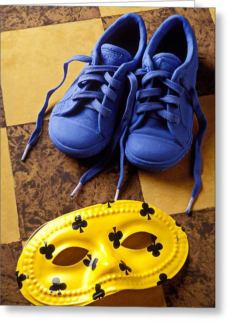 Kids Blue Shoes And Mask Greeting Card