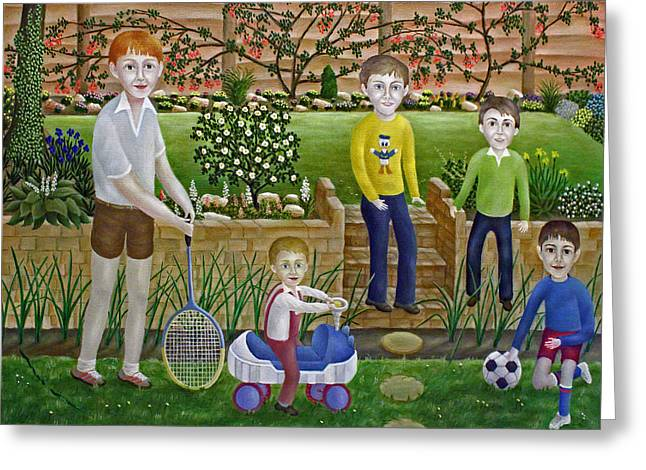Kids In The Garden Greeting Card by Ronald Haber