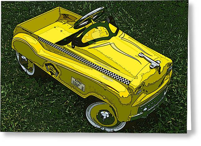Kid's Pedal Car Taxi Greeting Card by Samuel Sheats