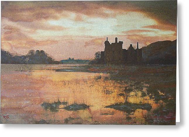 Greeting Card featuring the painting Kilchurn Castle Scotland by Richard James Digance