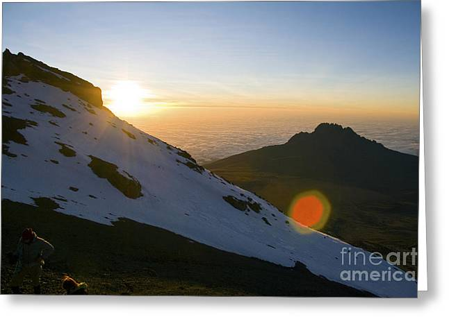 Kilimanjaro Sunrise With Climbers Greeting Card