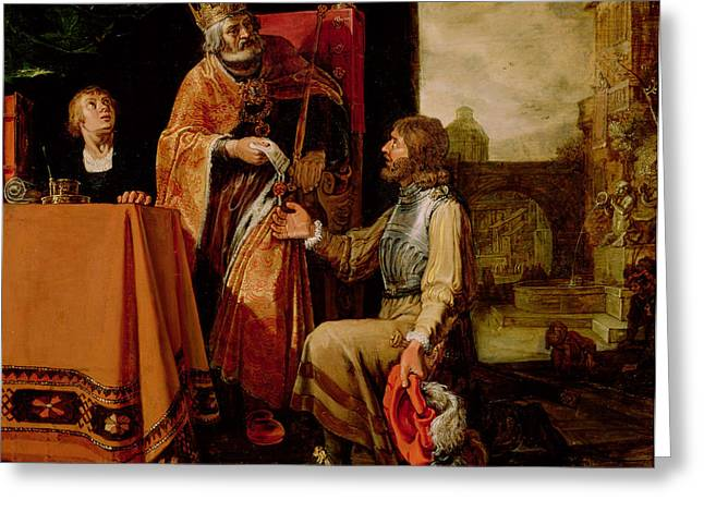 King David Handing The Letter To Uriah Greeting Card