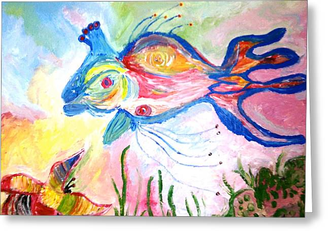 King Fish  And Hermit Crab Greeting Card by Pretchill Smith