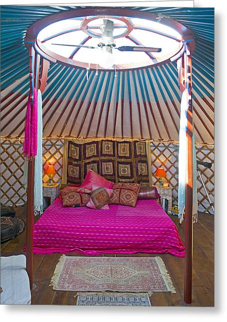 King Size Bed In A Mongolian Yurt Greeting Card by Corepics