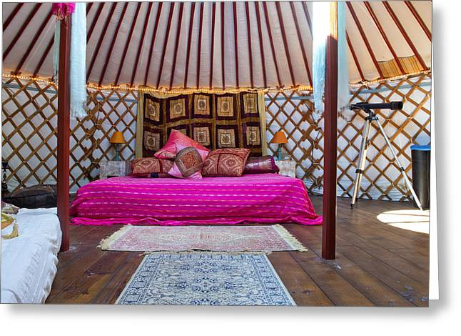 Yurts Greeting Cards - King Sized Double Bed In A Luxurious Greeting Card by Corepics