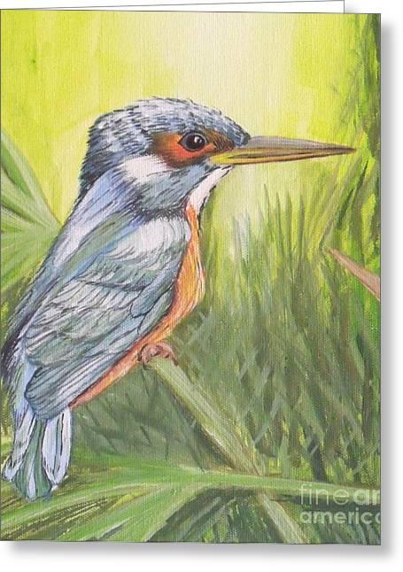 Kingfisher Greeting Card by Debra Piro