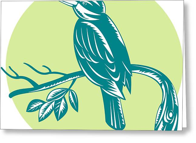 Kingfisher Perching On Branch Woodcut Greeting Card by Aloysius Patrimonio