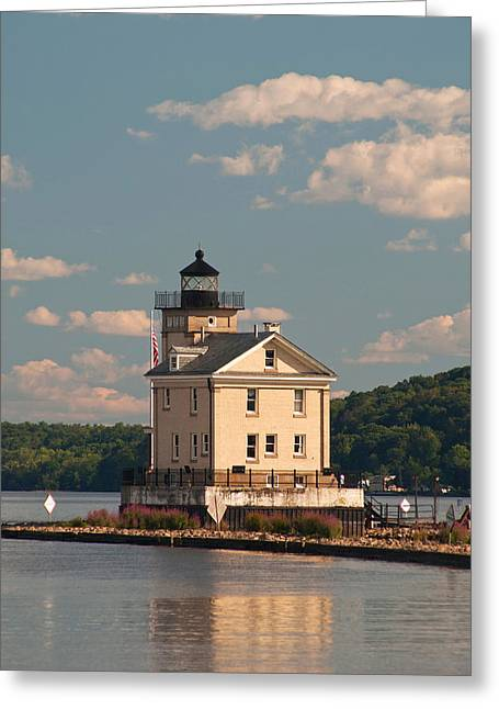 Greeting Card featuring the photograph Kingston Rondout Lighthouse by Nancy De Flon