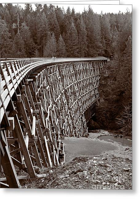Kinsol Historic Trestle In Sepia Greeting Card