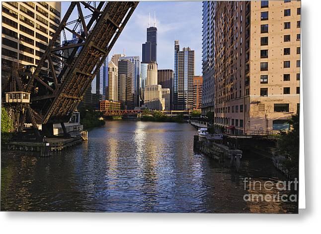 Kinzie St Bridge In Chicago Greeting Card
