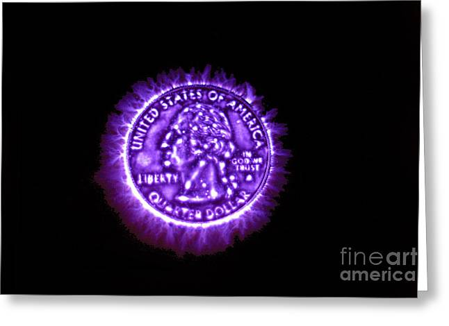 Kirlian Photograph Of An U.s. Quarter Greeting Card