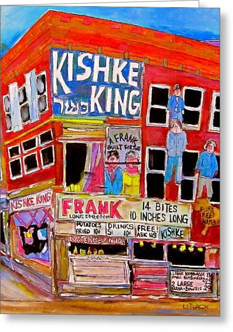 Kishka King Pitkan Avenue Greeting Card by Michael Litvack