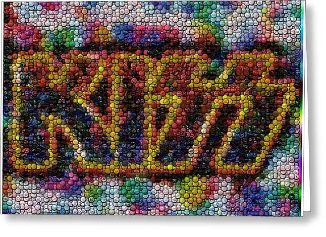 Kiss Bottle Cap Mosaic Greeting Card by Paul Van Scott