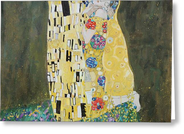 Kiss Copy Of Gustav Klimt Greeting Card