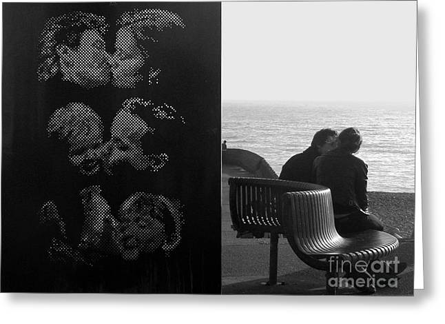 Kissing Couples Greeting Card by Karin Ubeleis-Jones