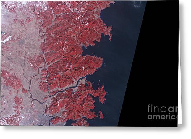 Kitakami River, Japan, Before Tsunami Greeting Card