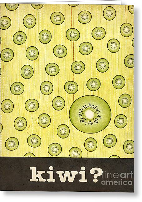 Kitchen Art - Kiwi Greeting Card by Linda Tieu