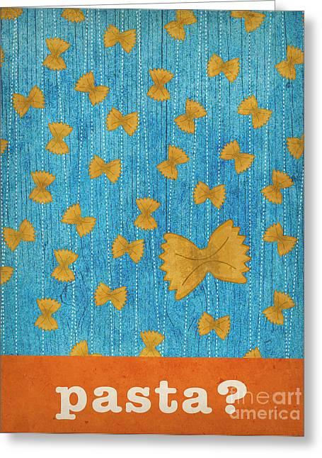 Kitchen Art - Pasta Greeting Card by Linda Tieu