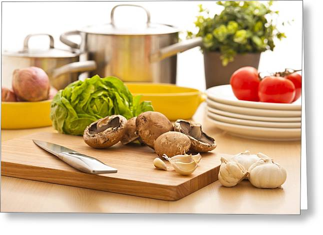 Kitchen Still Life Preparation For Cooking Greeting Card