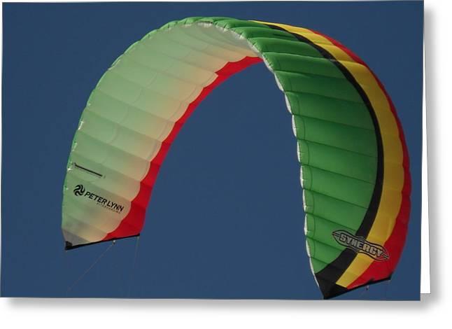 Kite Boarding Sail Greeting Card by Carolyn Olney