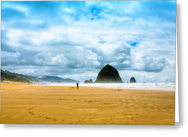 Kite Flyer At Cannon Beach Greeting Card by David Patterson
