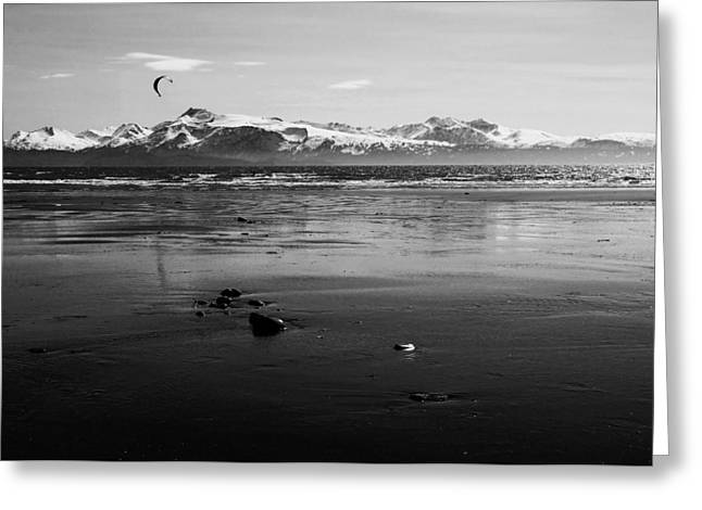 Kite Surfer On An Alaskan Beach Greeting Card