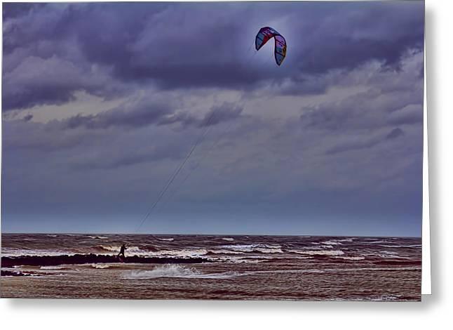 Kite Surfer V3 Greeting Card by Douglas Barnard