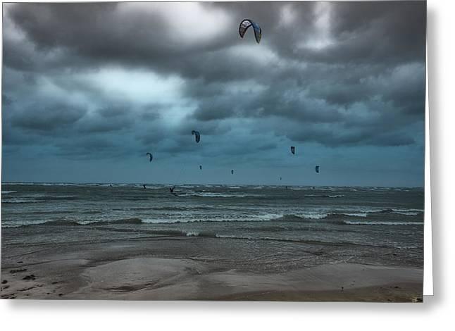 Kite Surfers Greeting Card by Douglas Barnard