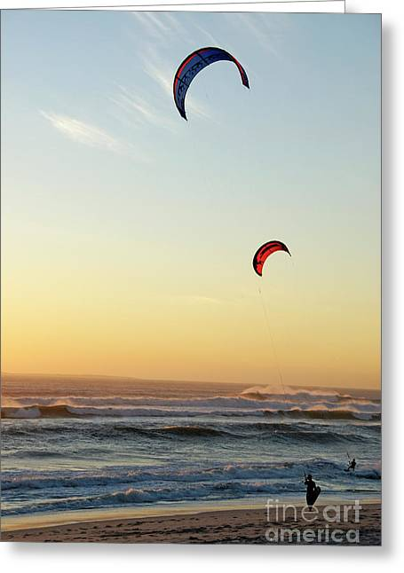 Kite Surfers On Beach At Sunset Greeting Card by Sami Sarkis