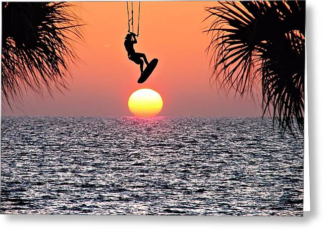 Kite Surfing In The Sunset Greeting Card by Chuck Purro