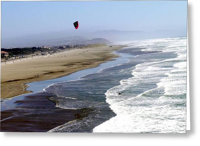Kitesurfing At Sf Great Beach Greeting Card