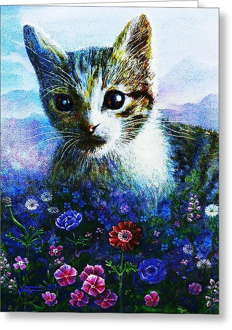 Greeting Card featuring the mixed media Kitten by Hartmut Jager