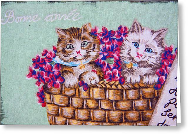 Kittens In A Basket Greeting Card by Chet King