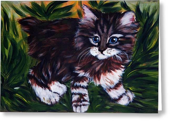 Kitty Greeting Card by Elena Melnikova