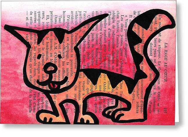 Kitty Kat Greeting Card by Jera Sky