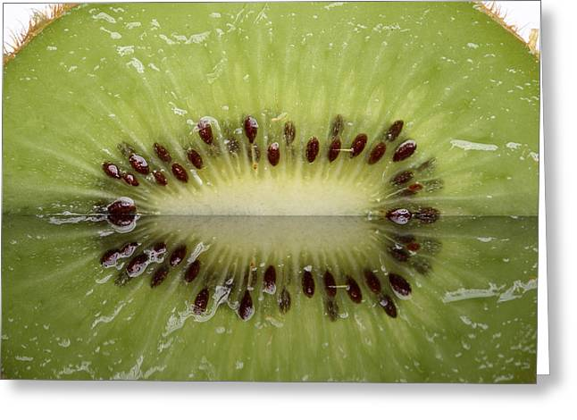 Kiwi Fruit Reflected On Glass Greeting Card by Mark Duffy