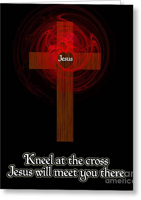 Kneel At The Cross Greeting Card by Methune Hively