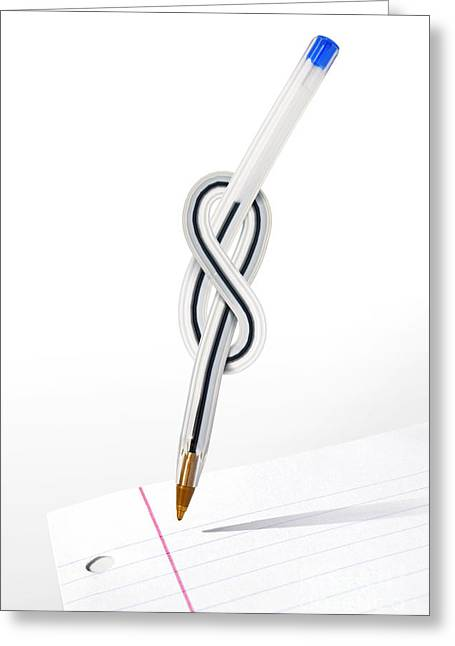 Knot Pen Greeting Card by Carlos Caetano