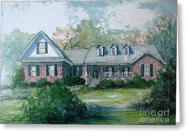 Greeting Card featuring the painting Knox's Home Illustration by Gretchen Allen