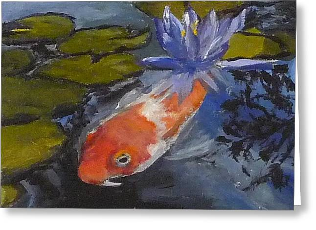 Koi And Lily Greeting Card by Jessmyne Stephenson