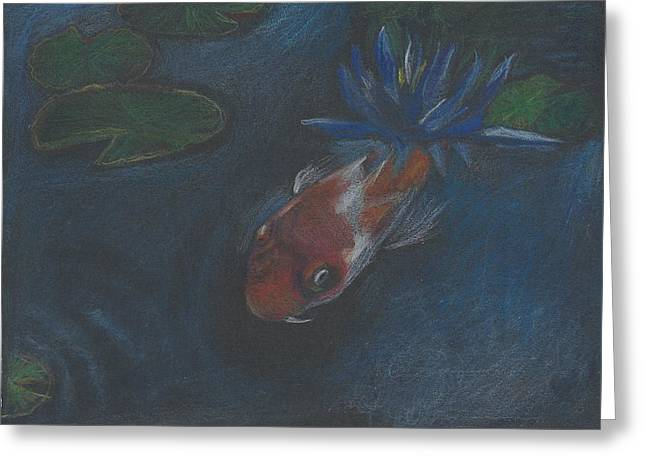 Koi And Water Lily Greeting Card by Jessmyne Stephenson