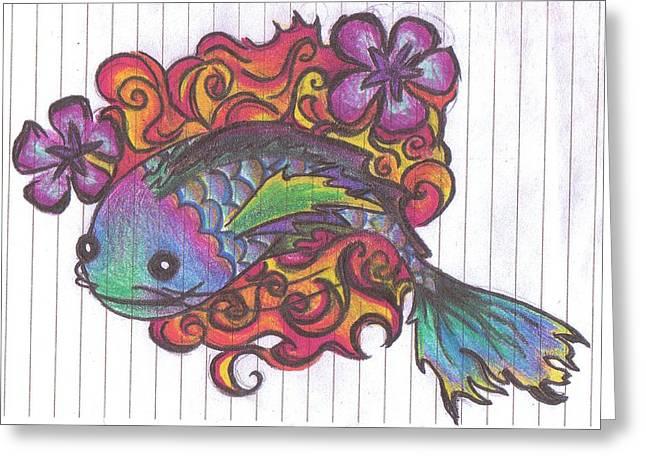 Koi Fish Greeting Card by Stephanie Ellison