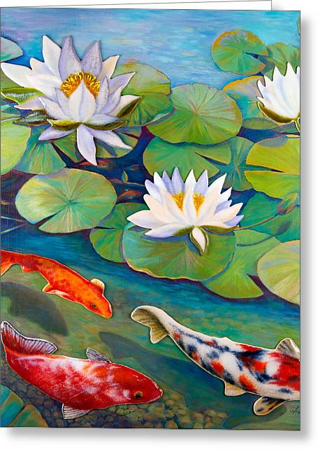 Koi Pond Greeting Card by Anne Nye