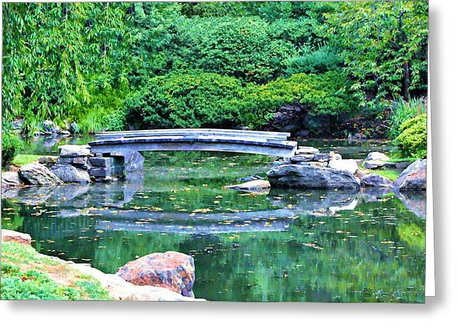 Koi Pond Pondering - Japanese Garden Greeting Card by Bill Cannon