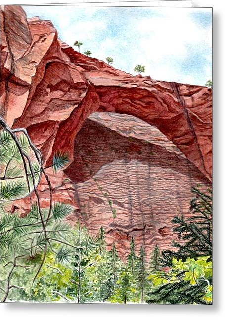 Kolob Canyon Arch Greeting Card by Inger Hutton