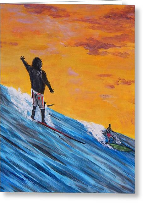 Greeting Card featuring the painting Kong Surfs by Everette McMahan jr